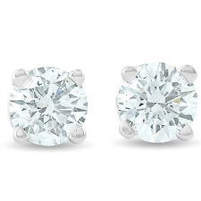 SI1/H .33Ct Round Diamond Studs 14K White Gold Screw Back Earring IGI Certified