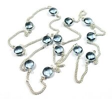 Glorious! Blue Iolite Faceted Quartz Gemstone 925 Silver Plated Necklace Chain