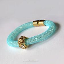 Mediterranean Aqua Blue Net Mesh Diamonties Crystal Glitter, Gold & Rhinestones