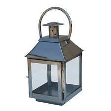 Small Stainless Steel Chrome Glass Lantern for Garden & Home
