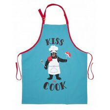 Hatley Funny Cotton Apron KISS THE COOK Bear Barbecue Party Unisex Chef