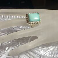 Statement Modernist MOD Square Turquoise RING .925 STERLING SILVER Size 8.75