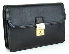 100% Auth BALLY Black Epi Leather Secondary Bag /Clutch bag Made in Italy