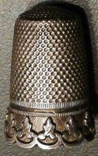 dé à coudre argent massif solid silver thimble décor fleurs de lis festonnées