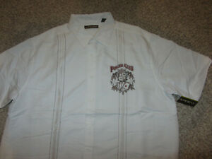 NWT Cubavera Poker Club White Embroidered Lounge Dress Camp Shirt XXL Rayon NEW