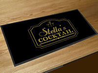 Personalised Classic Cocktail Bar Gold Bar runner counter mat Cocktails Bar
