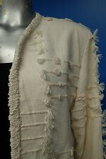 06950 Crystal Rare Textured Hand woven Cream Summer Fall Women Coat Jacket S