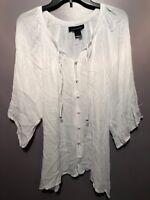 Ashley Stewart 12 Blouse White Sheer 3/4 Sleeve Tye Neck Women BE05