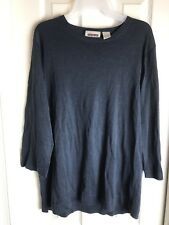 NEW XL VTG BLOOMINGDALES EAST ISLAND- NAVY PULLOVER SWEATER-SILK LINEN