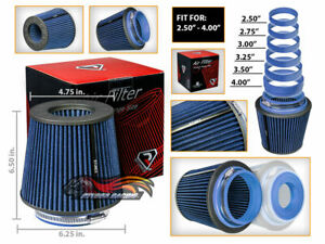 BLUE Universal Inlet Air Intake Cone Open Top Dry Replacement Filter For BMW