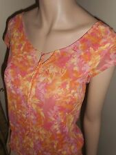 Axcess Women Small Coral Salmon Pink Yellow Sheer Lined Short Sleeve Stretch Top