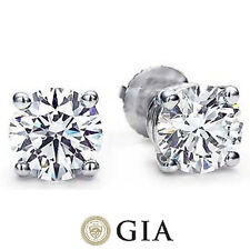 2.02 ct Round Diamond Ideal cut Studs 18k White Gold Earrings GIA certified G VS