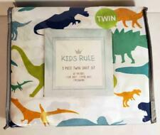 Kids Rule 3 pc Twin Sheet Set Dinosaurs Blue Green 100% Polyester Microfiber NEW