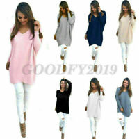 Casual Loose Long Sleeve Sweater Womens V-neck Knitwear Pullover overcoat Tops