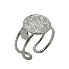 SOLID 925 Sterling Silver San Benito St. Benedict Religious Adjustable Cuff Ring