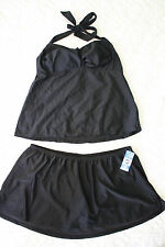 Women's Plus Size Catalina Halter Tankini 1X 16W Two Piece Swimsuit Black Halter