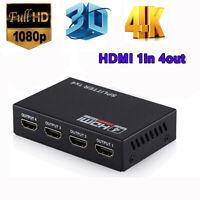 Full HD 1080p HDMI Splitter Amplifier Repeater 3D 4K 1 IN 4 OUT Hub 1X4 1x2 Dp`