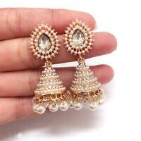 Luxury Gold Tone Simulated Pearl Rhinestone Inlaid Stud Earring Women Jewelry S