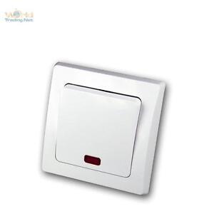 DELPHI UP Kontroll-Schalter mit Kontrolleuchte, Beleuchteter Lichtschalter weiß