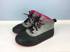 Nike Girls Pink Black Gray Duck boots Winter Toddler Girls 10 woodside Excellent
