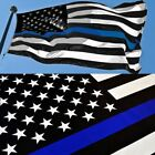 Thin Blue Line American Flag 3x5 ft US Black & White Police Policemen Support