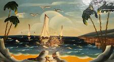 Vintage fauvist seascape boats oil painting