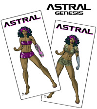 """Set of 2 ASTRAL GENESIS 3"""" x 6"""" sci-fi stickers starring LILA both sexy outfits!"""