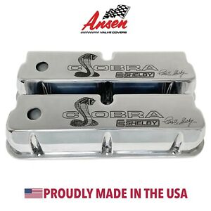 Ford Carroll Shelby Cobra Tall Valve Covers - Polished (PREMIUM SERIES) - Ansen
