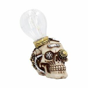 "Funky ""Bright Idea"" Ornamental Poly-Resin Light-Up Steampunk Skull 17cms"