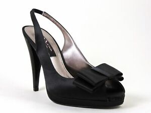 Nina Women's Elden Slingback Pumps Black Crystal Satin Size 7.5 M
