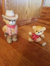 Vintage Lot 1982 Lucy Rigg Lucy and Me Bear Cowboy & Baby Bear Enesco Nursery