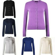 M&S Womens Cardigan Ladies Round Neck Button Long Sleeve Top Soft Knit (BR172)