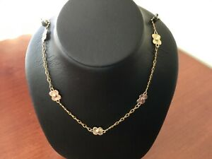 14K yellow and rose gold flower station earrings, bracelet and necklace set