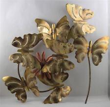 Wall Decor Metal Butterflies Flower Mid Century Art Decor Gold Antiqued