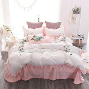 Embroidery Bedding Set 4pcs Cotton Duvet Cover Bed Sheet Pillowcases Bed Linen