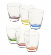 6 x Multi Coloured Drinking Glasses Set Dining Cups Water Juice Tumblers Home