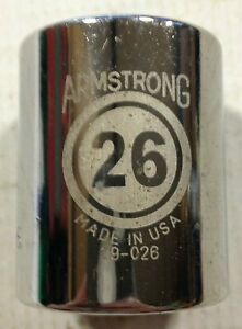 "Armstrong 6pt Shallow Chrome Socket 1/2"" Drive 10mm-26mm SINGLES USA"