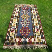 Vintage Reversible Turkish Floor Kilim Rug 4x8ft Handmade Tribal Wool Runner Rug