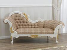 Dormeuse Joana stile Barocco Decape divano chaise longue avorio e foglia oro tes