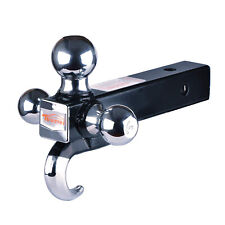2 Inch Class Iii/Iv Trailer Hitch Tri Ball Mount With Hook Hollow Shank