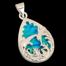 Pear Drop Double Dolphin Ocean Blue Fire Opal Silver Jewelry Necklace Pendant