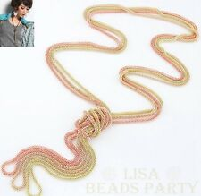 Fashion Exquisite Jewelry Pendant Alloy Chain Necklace Gold pink New
