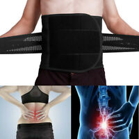 Adjustable Double Pull Lumbar Brace Back Support Lower Black Waist Belt Black US