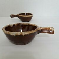 Vintage Western Monmouth Bowls w Handle Oven Ware Pottery Brown Drip Glaze Hull