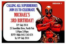 1 x DEADPOOL BOYS BIRTHDAY PERSONALISED PARTY INVITATIONS + FREE MAGNETS