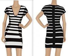 New Herve Leger sz XS bandage dress black white mini stripe