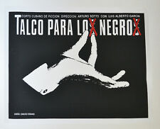 Cuban original SILKSCREEN movie poster.Handmade art.Talco para los negros.B&W