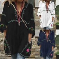 Plus S-5XL Women Lantern Sleeve Floral Print Mini Dress Long Shirt Tops Blouse