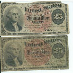 4th Issue Red Seal 25 Cents Pair United States Fractional Currency FR1302
