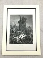 Antique Engraving Print Ancient Mythology War Elephant Battle Death of Eleazar